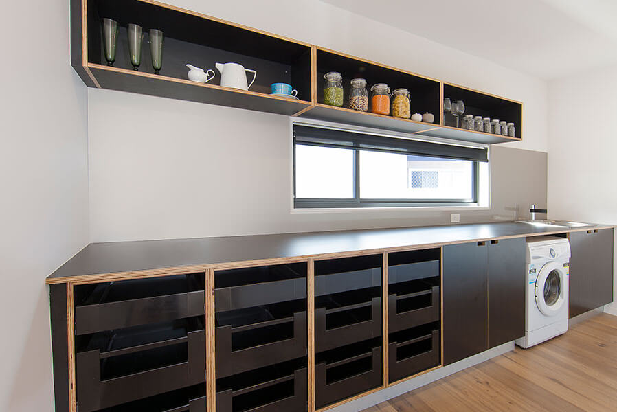 Sliding Windows - Modern Black Kitchen